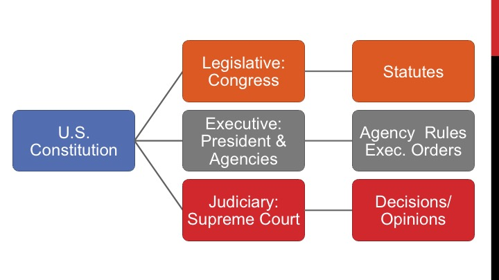 Graphis shows the three branches of the federal government and some of the primary legal authorities they promulgate: Congress passes statutes; the executive branch promulgates regulations; and courts interpret the laws with their opinions.