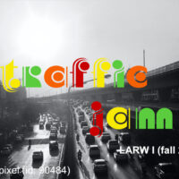 "Image showing literal traffic jam with title of playlist ""Traffic Jam"""